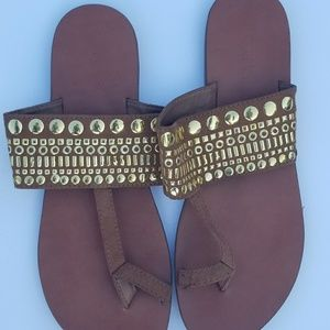 Merona brown and gold sandals